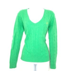 Polo Ralph Lauren Women's Green V-Neck Sweater M